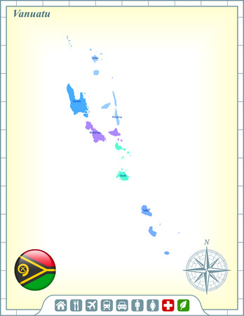 vanuatu: Vanuatu Map with Flag Buttons and Assistance & Activates Icons