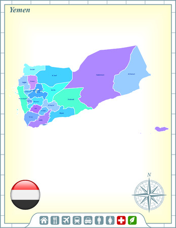 Yemen Map with Flag Buttons and Assistance & Activates Icons Vector