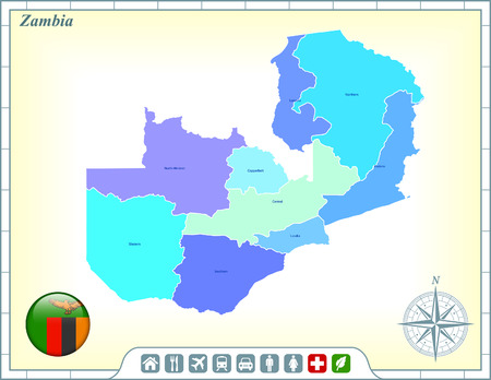 Zambia Map with Flag Buttons and Assistance & Activates Icons Vector