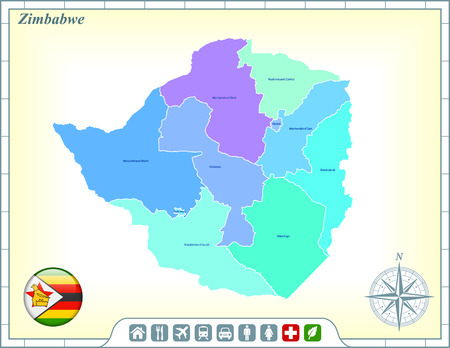 Zimbabwe Map with Flag Buttons and Assistance & Activates Icons Vector