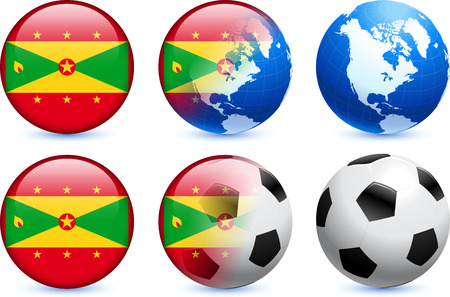 grenada: Grenada Flag Button with Global Soccer Event