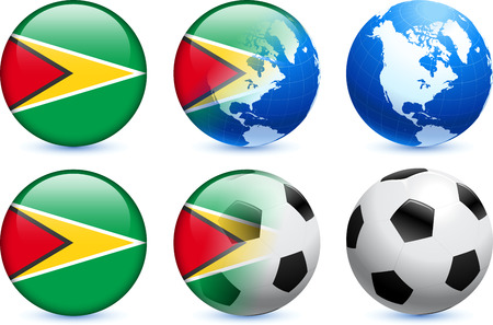 Guyana Flag Button with Global Soccer Event Original Illustration Vector