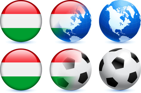 Hungary Flag Button with Global Soccer Event