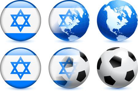 Israel Flag Button with Global Soccer Event Original Illustration
