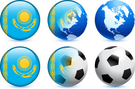 Kazakhstan Flag Button with Global Soccer Event Original Illustration Vector