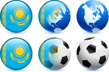 Kazakhstan Flag Button with Global Soccer Event Original Illustration
