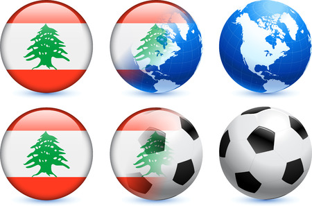 Lebanon Flag Button with Global Soccer Event Vector