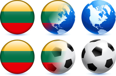 lithuania flag: Lithuania Flag Button with Global Soccer Event Original Illustration