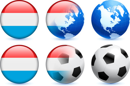 Luxembourg Flag Button with Global Soccer Event Vector