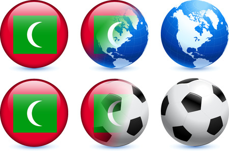 maldives: Maldives Flag Button with Global Soccer Event