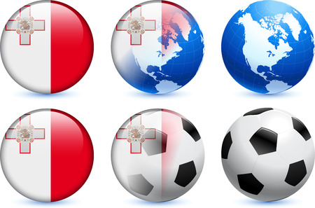 Malta Flag Button with Global Soccer Event 일러스트