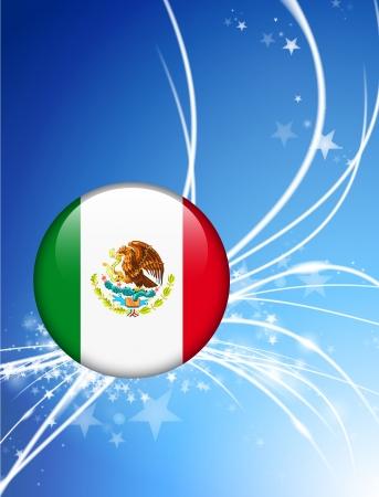bandera mexico: Bot?n de bandera de M?xico sobre fondo de luz Abstract Ilustraci?n original