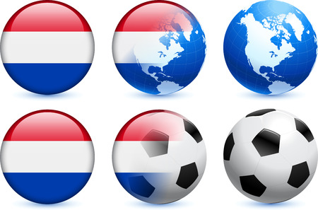 Netherlands Flag Button with Global Soccer Event Vectores