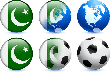 pakistan flag: Pakistan Flag Button with Global Soccer Event Illustration