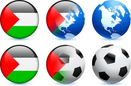 Palestine Flag Button with Global Soccer Event Ilustração