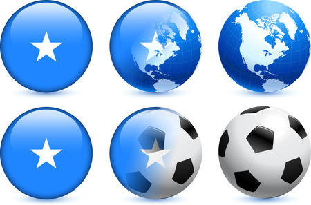 Somalia Flag Button with Global Soccer Event Original Illustration