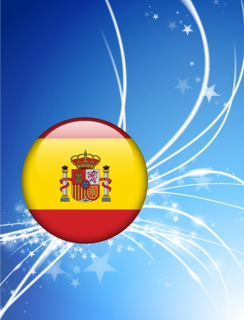 Spain Flag Button on Abstract Light Background Original Illustration