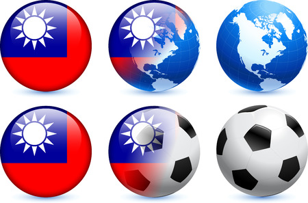 Taiwan Flag Button with Global Soccer Event