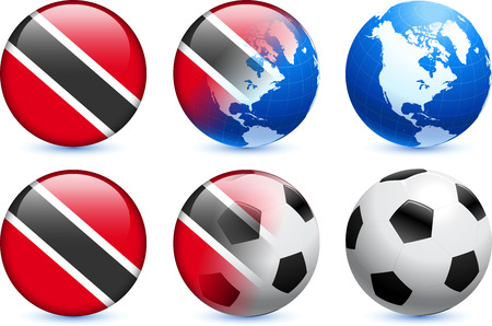 Trinidad and Tobago Flag Button with Global Soccer Event  イラスト・ベクター素材