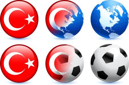 Turkey Flag Button with Global Soccer Event Original Illustration Vector