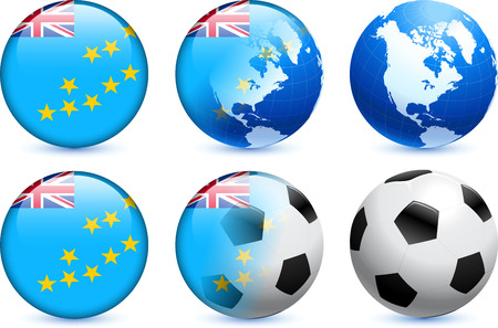 tuvalu: Tuvalu Flag Button with Global Soccer Event Illustration