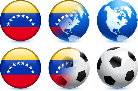 Venezuela Flag Button with Global Soccer Event Original Illustration Vector
