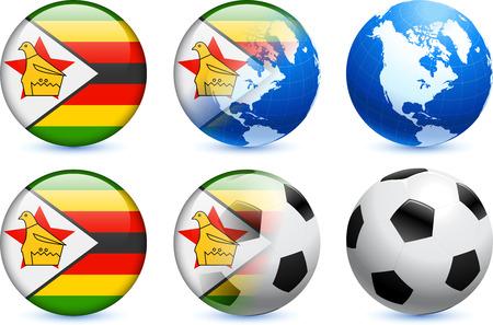 Zimbabwe Flag Button with Global Soccer Event Original Illustration