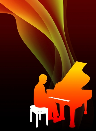 Piano Musician on Abstract Flowing Flame  Vector