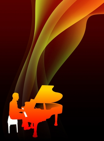 Piano Musician on Abstract Flowing Flame Background Original Illustration Vector
