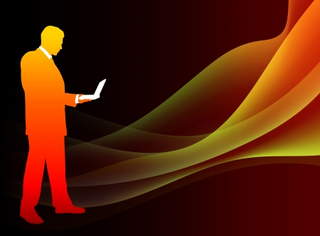 Businessman on Abstract Flowing Flame BackgroundOriginal Illustration Stock Vector - 22372720
