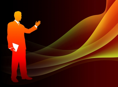 Businessman on Abstract Flowing Flame