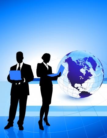 Business Couple with Globe Background Original Illustration