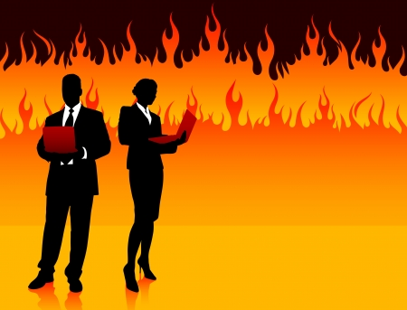 hot woman: Business Couple on Fire Background Original Illustration