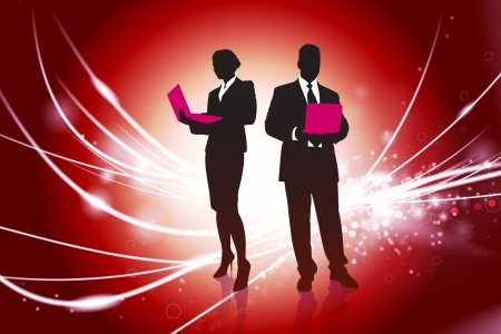 Business Couple on Red Abstract Light Background Original Illustration Vector