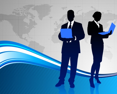 Business Couple on Abstract World Map Background Original Illustration Illustration