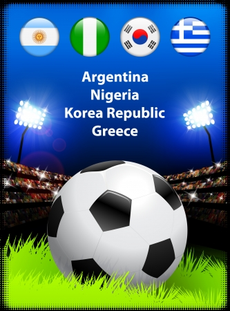 World Soccer Compeition Group B Original Illustration Vector
