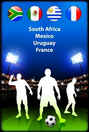 Soccer Player in Global Soccer Event Group A Original Illustration Vector