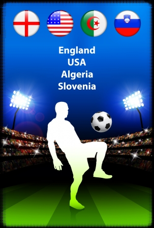 Soccer Player in Global Soccer Event Group C Original Illustration Vector