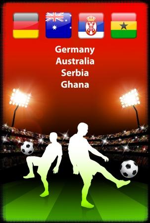 Soccer Player in Global Soccer Event Group DOriginal Illustration Stock Vector - 22423378