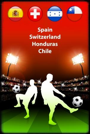 Soccer Player in Global Soccer Event Group HOriginal Illustration