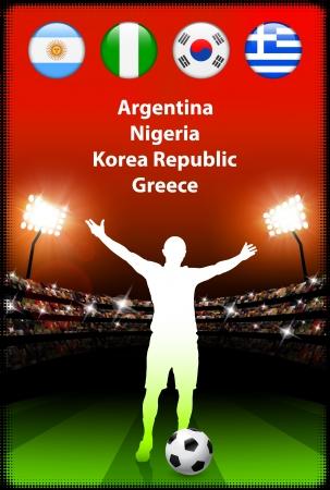 b ball: Soccer Player in Global Soccer Event Group B Original Illustration