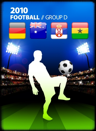 Soccer Player in Global Soccer Event Group DOriginal Illustration Stock Vector - 22423436