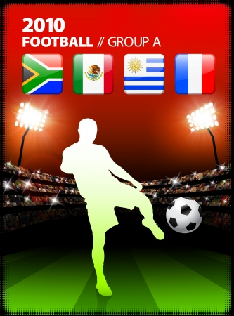 french flag: Soccer Player in Global Soccer Event Group A Original Illustration