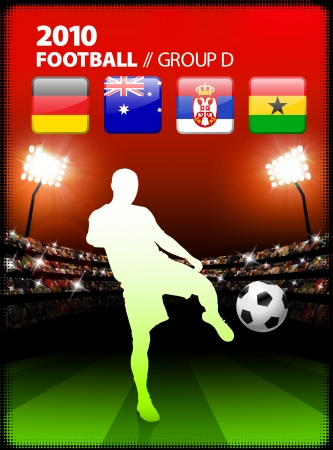 Soccer Player in Global Soccer Event Group D Original Illustration Vector