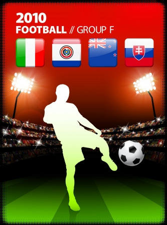 Soccer Player in Global Soccer Event Group F Original Illustration Vector