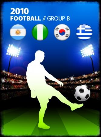 Soccer Player in Global Soccer Event Group BOriginal Illustration