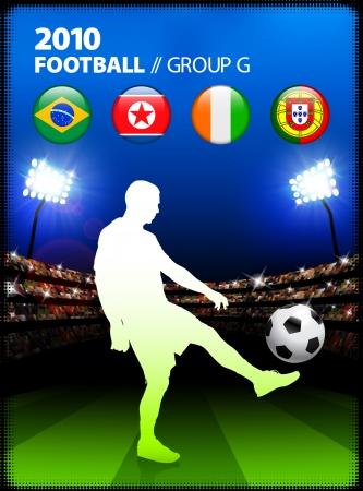 Soccer Player in Global Soccer Event Group GOriginal Illustration Stock Illustratie
