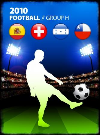 Soccer Player in Global Soccer Event Group H Original Illustration Vector