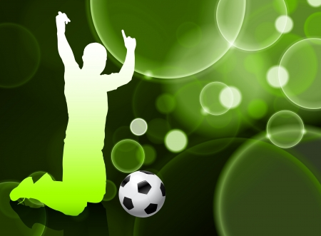 Soccer Player on Green Bubble  Vector