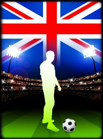 British Soccer Player in Stadium MatchOriginal Illustration Vectores